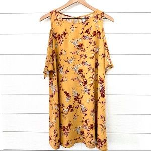 Xhilaration yellow floral cold shoulder dress